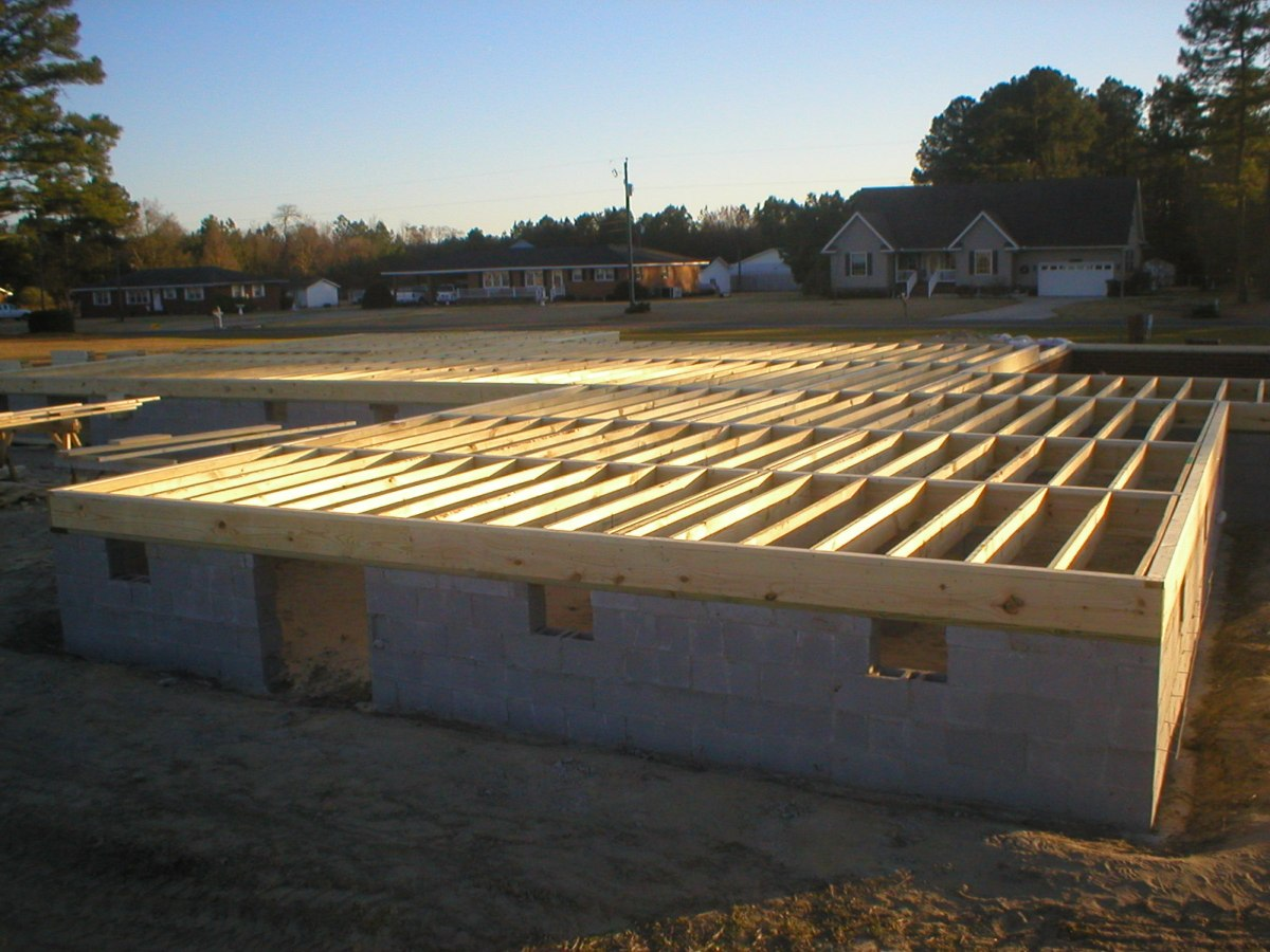 Wood joist floor assembly for Floor joist construction